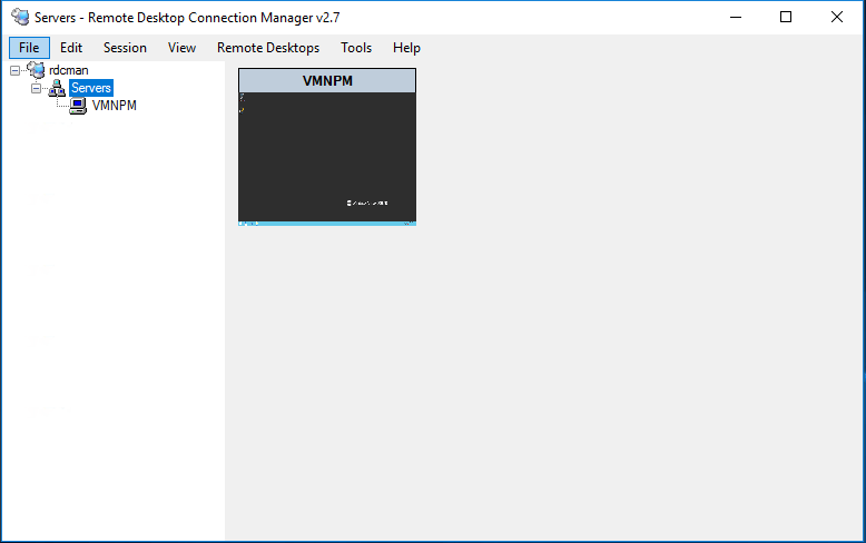 Screenshot of RDCMan Remote Desktop Connections Manager software. during hands on review.