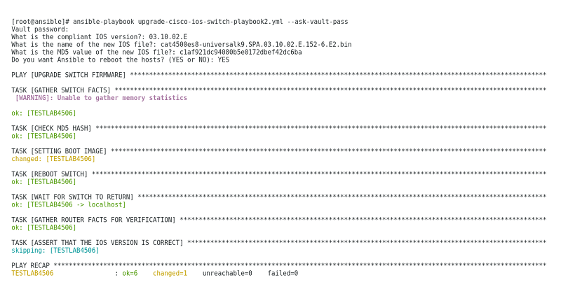 Example Ansible Playbook for Updating Cisco IOS Switches