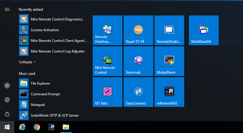 Start menu showing the shorcuts for the remote desktop connection and terminal connection managers that I installed to review hands on.