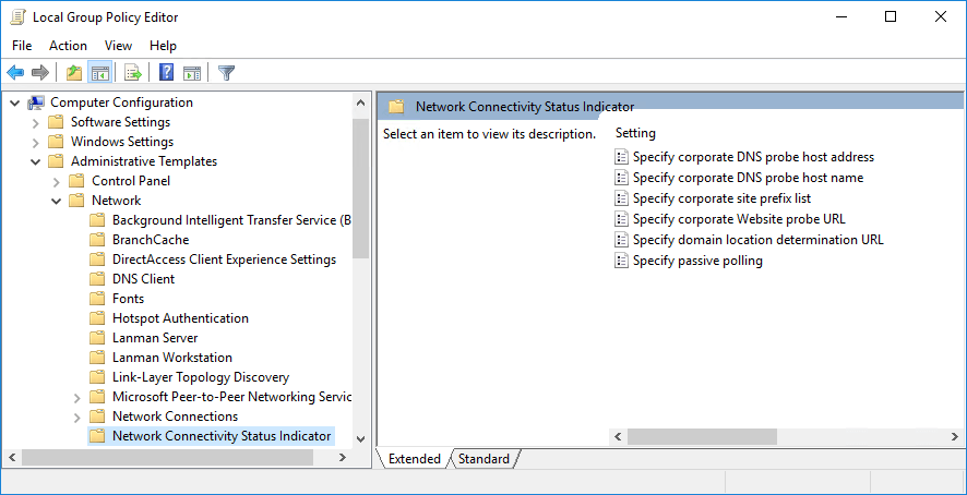 Screenshot of group policy editor showing how to set custom internet connection testing servers in Windows.