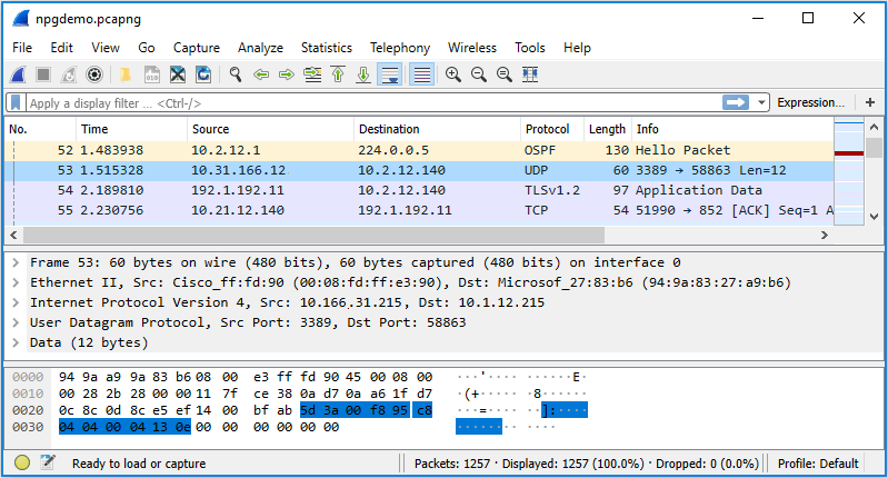 The graphical user interface (GUI) of Wireshark when capturing packets from an interface.