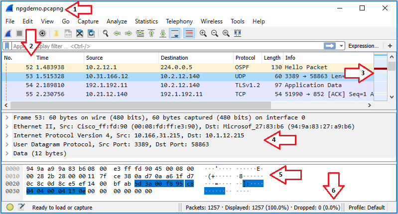 Screenshot of the working screen within Wireshark with arrows pointing to each primary section.