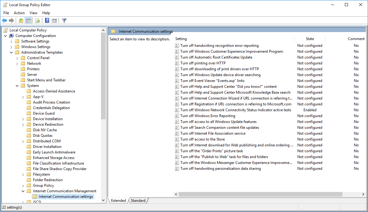 Screenshot of local group policy editor showing how to disable internet connection testing in Windows.