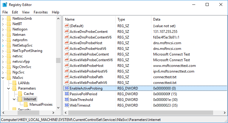Screenshot of registry editor showing how to disable internet connection testing in Windows.