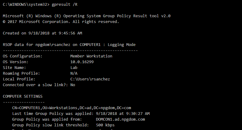 How to pull group policy report using gpresult command.