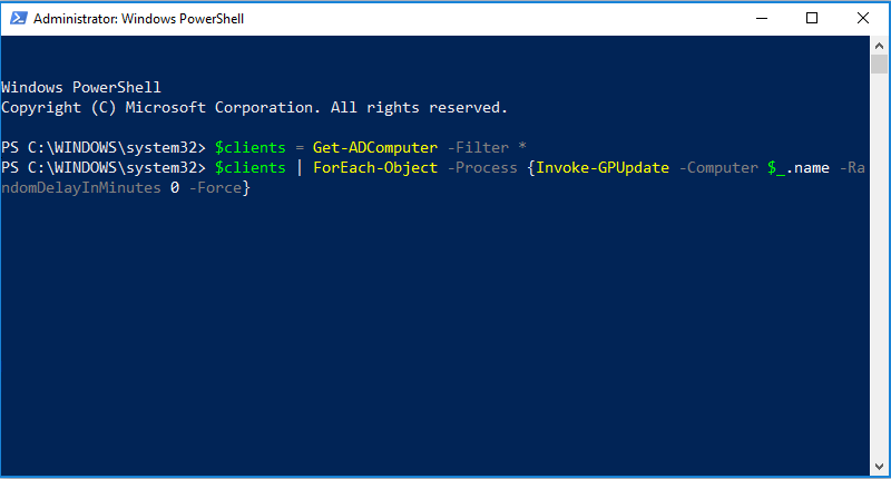 How to force a gpupdate /force with PowerShell.