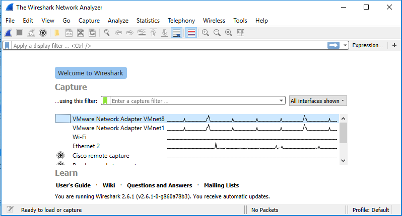 User interface of Wireshark after installing it on Windows 10.