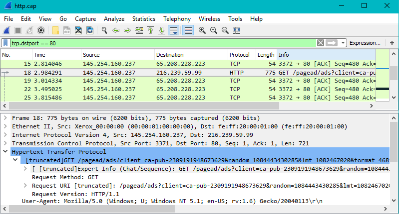 Screenshot showing a Wireshark capture of http traffic filtered by port 80.
