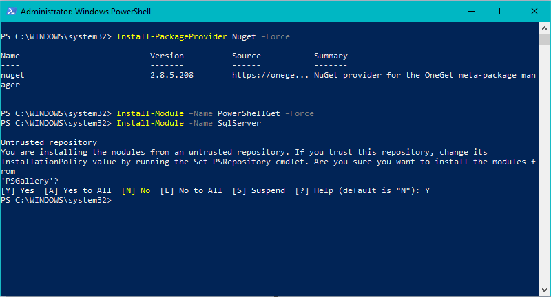 Illustrating how to install PowerShell Modules in Windows 10 and Server 2016 using the PowerShell Gallery and Nuget.
