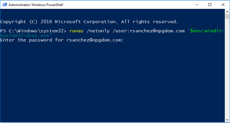 Learn how to use the RUNAS command to run admin programs as another user.