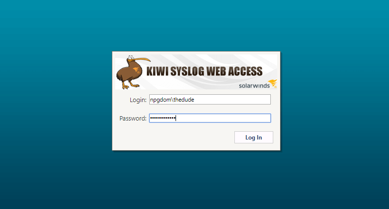 Screenshot of Kiwi Syslog Web Access signing in with AD credentials.