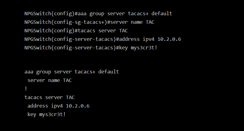 Screenshot of new tacacs syntax to replace deprecated cli configuration on Cisco IOS.