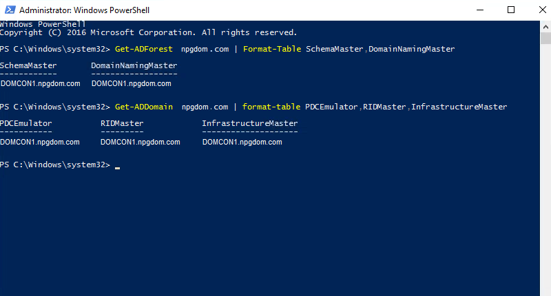 How to query fsmo roles using powershell and command prompt.