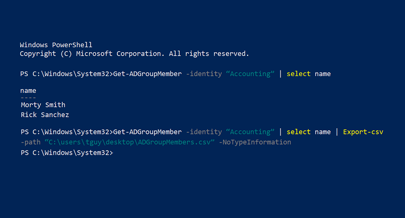 powershell get group members