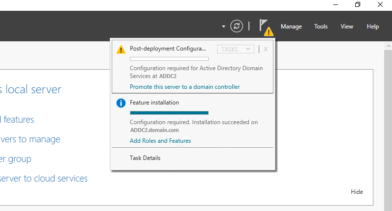 Illustrating how to promote a Server 2016 server to a domain controller in an existing domain.