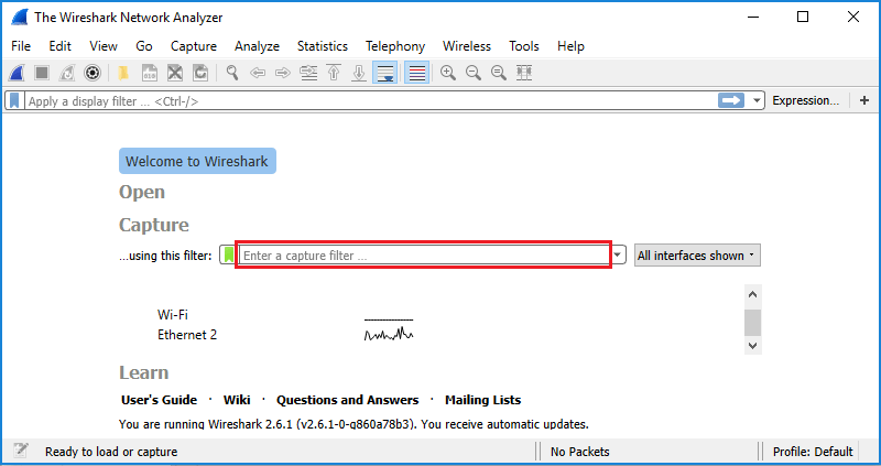 Screenshot showing the capture filter field on the Wireshark start screen.