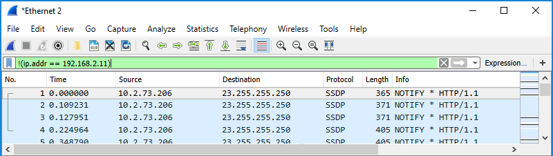 Screenshot of Wireshark showing use of a display filter to filter by excluded IP address.