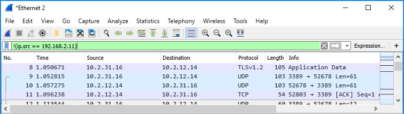 Screenshot of Wireshark showing use of a display filter to filter by IP address exclusion in source column.