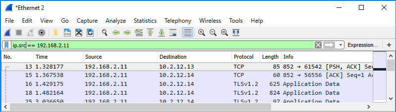 Screenshot of Wireshark showing use of a display filter to filter by IP address in source column.