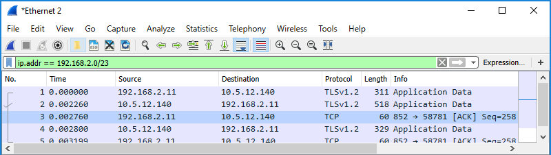 Screenshot of Wireshark showing use of a display filter to filter by IP subnet in CIDR format in both the source and destination columns.