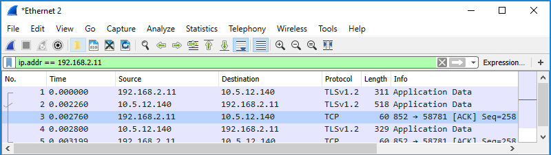 Screenshot of Wireshark showing use of a display filter to filter by IP address in either source or destination..