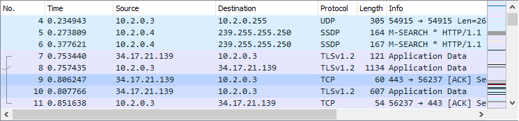 Screenshot of the wireshark packet list pane illustrating the different elements.