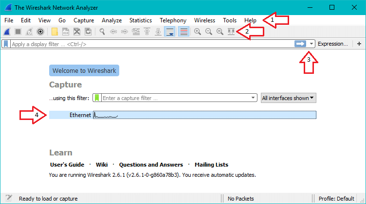 Screenshot of wireshark with arrows pointing to each section of the interface.
