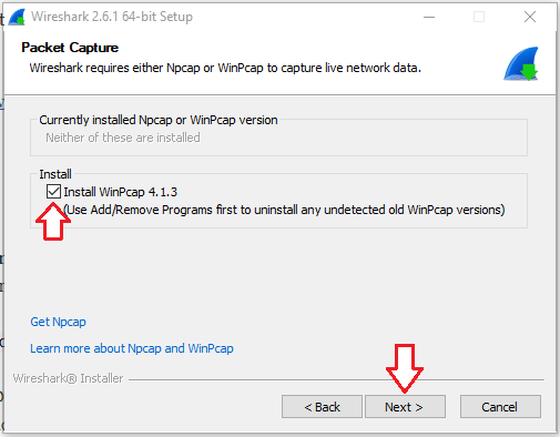 Installer screen showing option to install winpcap 4.1.3.