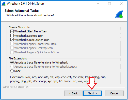 Wireshark installer screen showing different shortcut options and file extension options.