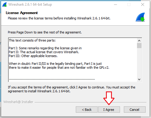 Wireshark license agreement page.