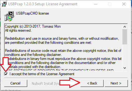 License agreement screen for the USBPcapCMD license.