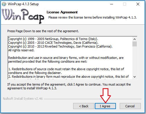 WinPcap License Agreement screen.